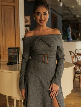 Tweed Open Shoulders Dress with a Belt - Style n Snitch